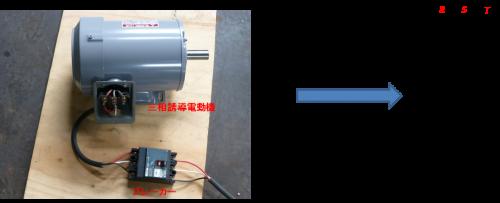 三相モーターの直入回路の写真