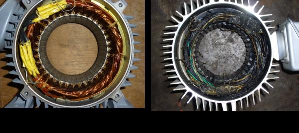 モーターのコイル焼損の比較写真
