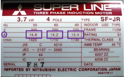 モーターの銘板の定格電流部