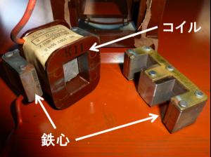 プランジャ形の鉄心とコイル