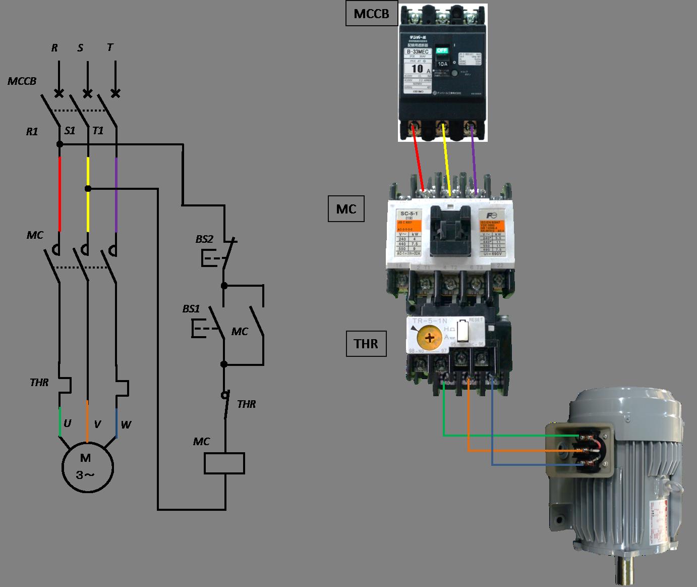 電磁開閉器を使う三相モーターの始動回路の写真