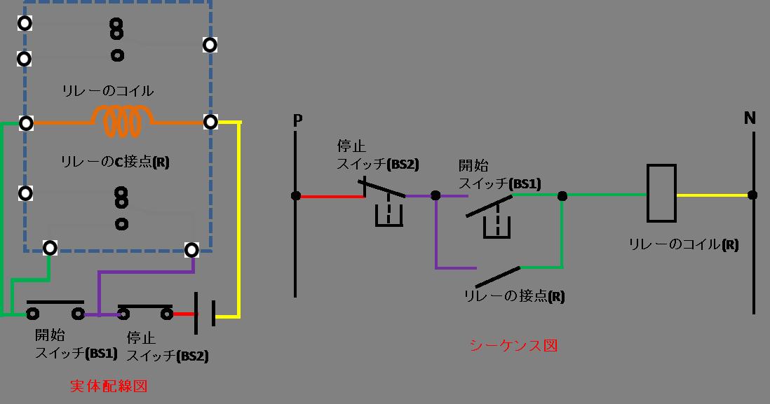 自己保持回路の配線方法の説明図4