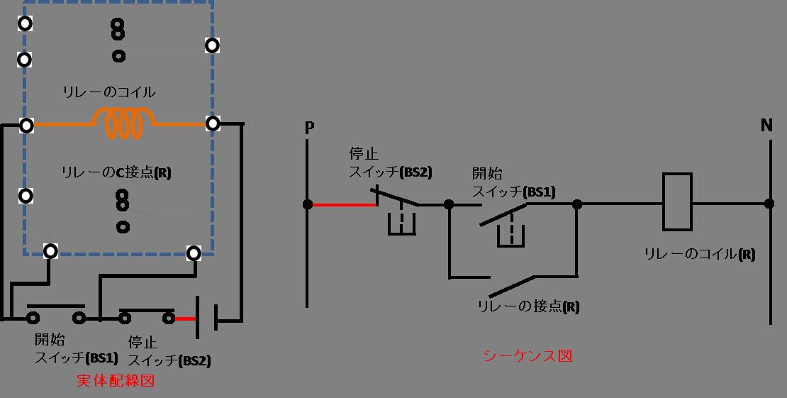 自己保持回路の配線方法の説明図1