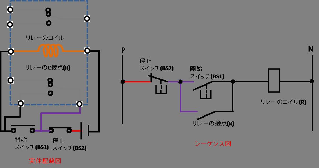 自己保持回路の配線方法の説明図2