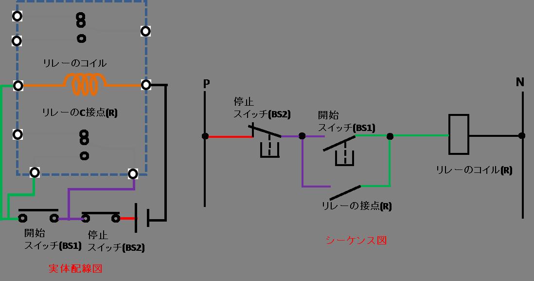 自己保持回路の配線方法の説明図3
